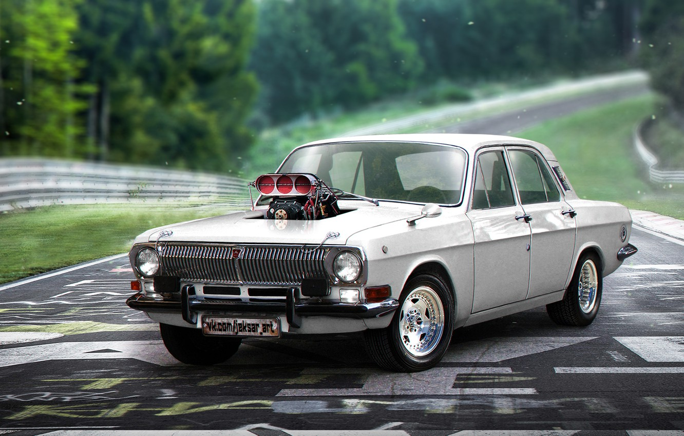 Wallpaper Tuning Supercharger Muscle Car Tuning Volga Muscle