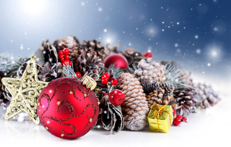 Photo wallpaper winter, decoration, gift, balls, New Year, Christmas, star, balls, winter, happy new year, Merry Christmas, …