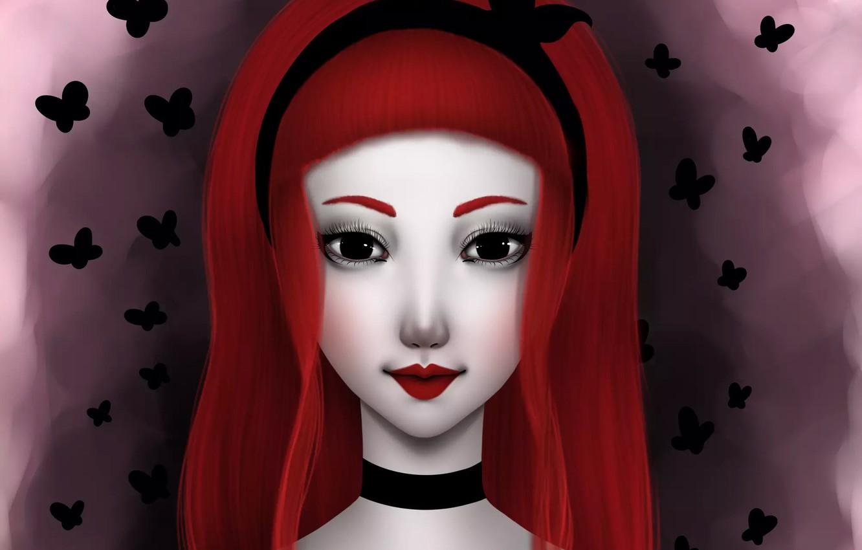 Photo wallpaper butterfly, face, hair, art, girl, red, girl, art, NImFpa