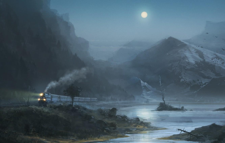 Photo wallpaper mountains, birds, night, lake, the moon, Train