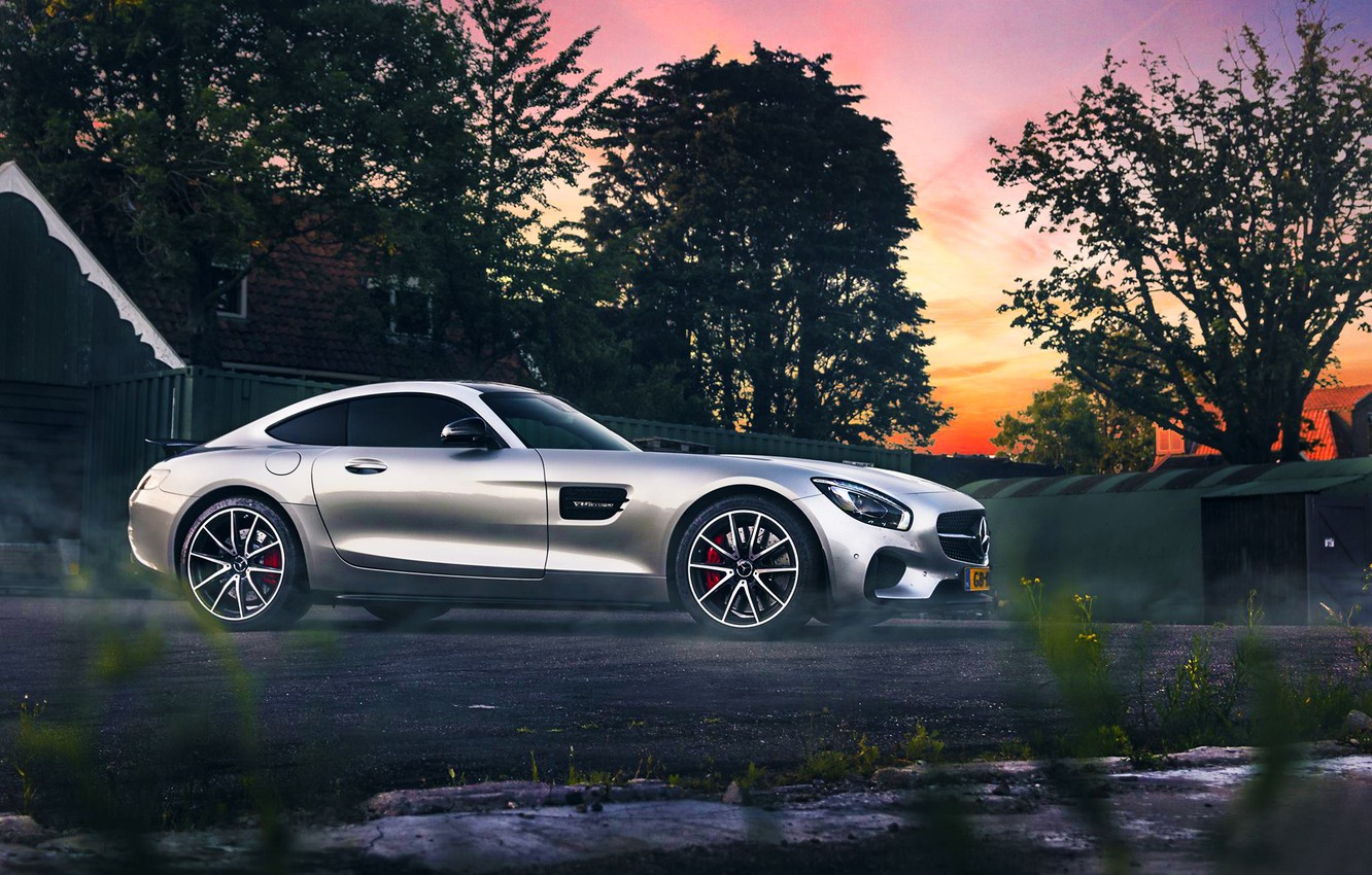 Photo wallpaper Mercedes-Benz, AMG, Color, Sunset, Beauty, Smoke, Supercar, Silver, 2015, Ligth, GT S