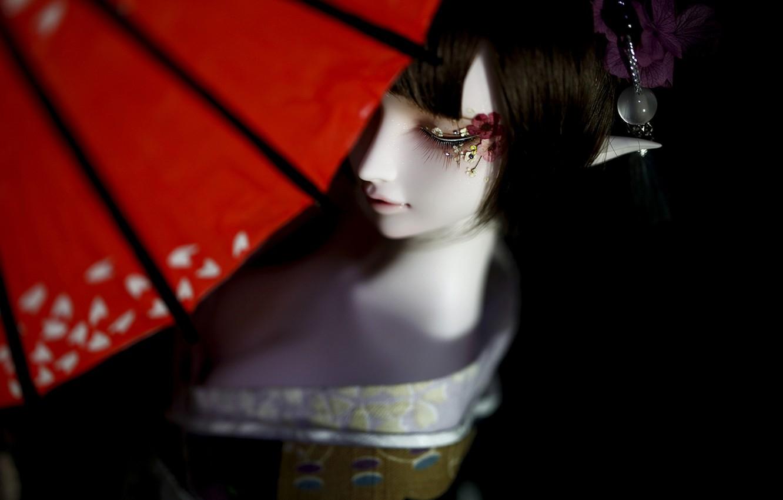 Photo wallpaper girl, elf, doll, umbrella, kimono, BJD