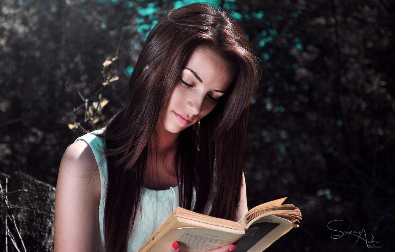 Photo wallpaper girl, book, reads