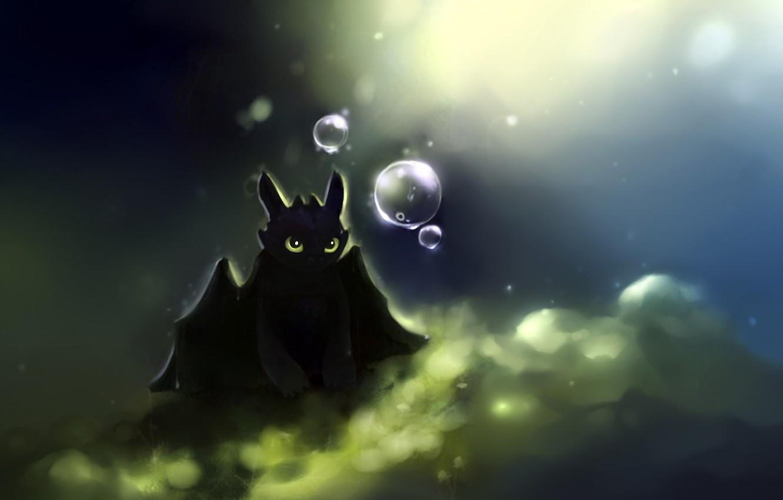 Photo wallpaper bubbles, dragon, art, apofiss, how to train your dragon, night fury