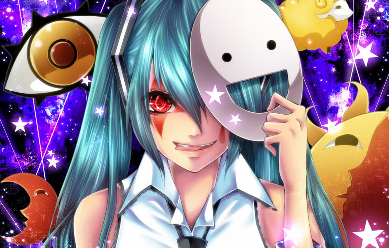 Photo wallpaper language, look, girl, smile, mask, vocaloid, hatsune miku, Vocaloid, art, blood lust, tsukioka tsukihi