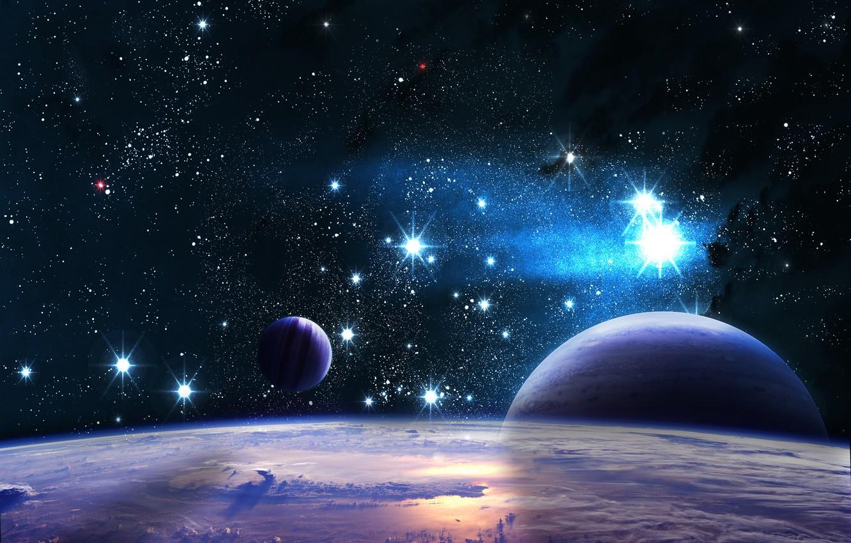 Photo wallpaper the sky, stars, light, the universe, planet, satellite, orbit