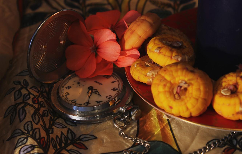Photo wallpaper light, comfort, watch, seeds, plate, still life, pink flower