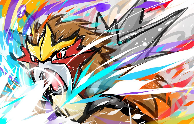 Photo wallpaper Fire, Games, Anime, Pokemon, Entei