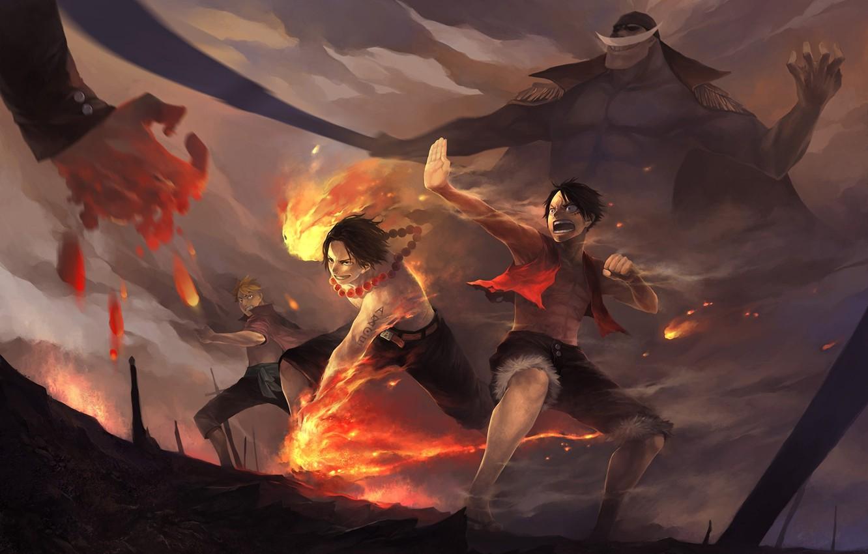 Photo wallpaper fire, art, battle, one piece