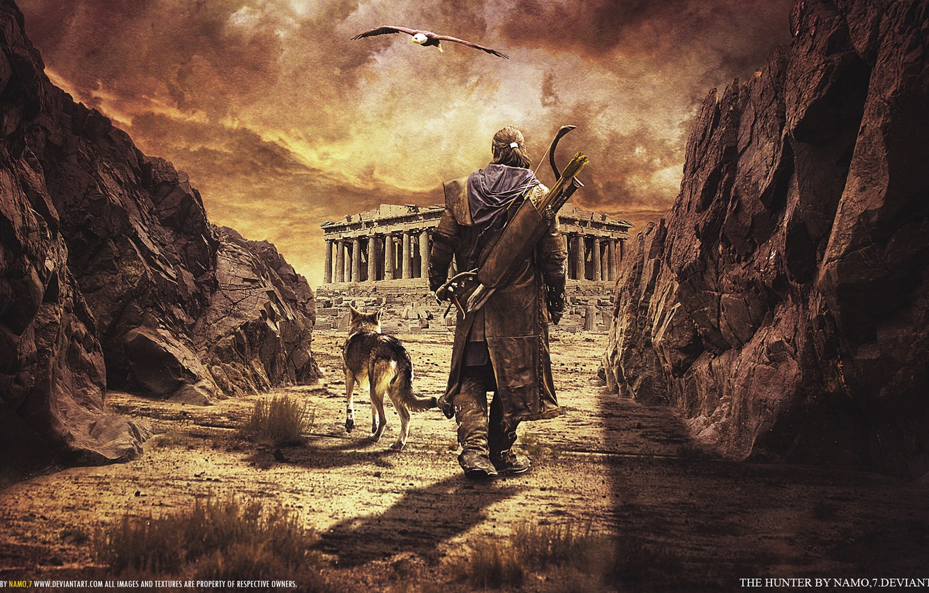 Photo wallpaper road, clouds, the way, weapons, bird, wolf, Falcon, hunter, The Hunter