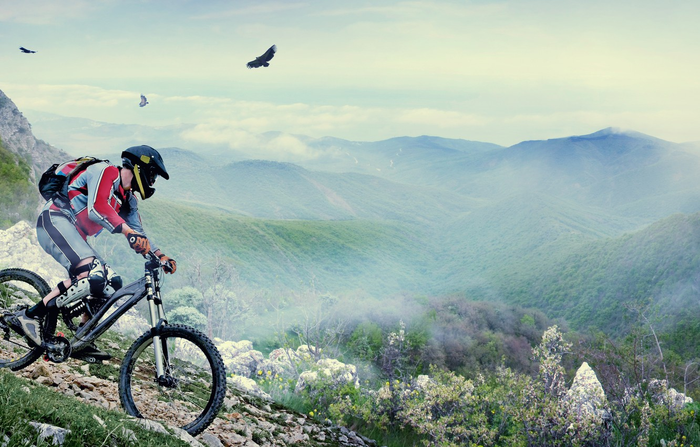 Photo wallpaper mountains, birds, bike, people, helmet