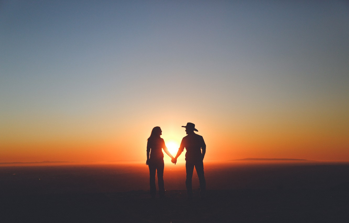 Photo wallpaper sky, woman, sunset, mountains, clouds, man, couple, silhouette