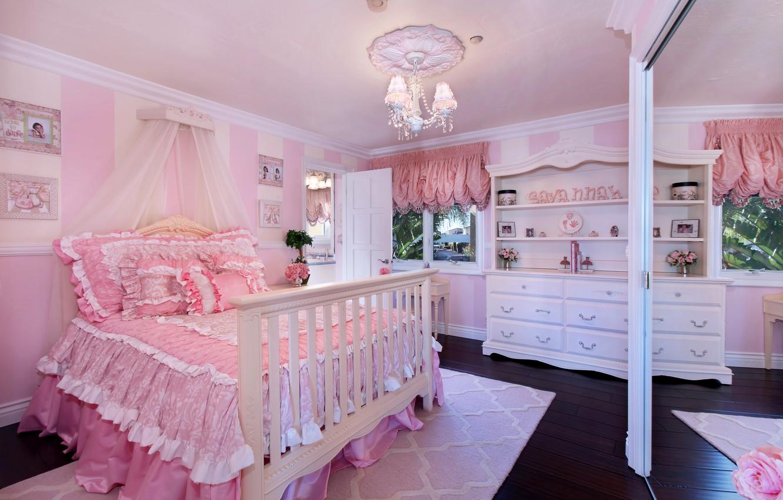 Photo wallpaper room, bed, interior, mirror, pink, chandelier, mansion