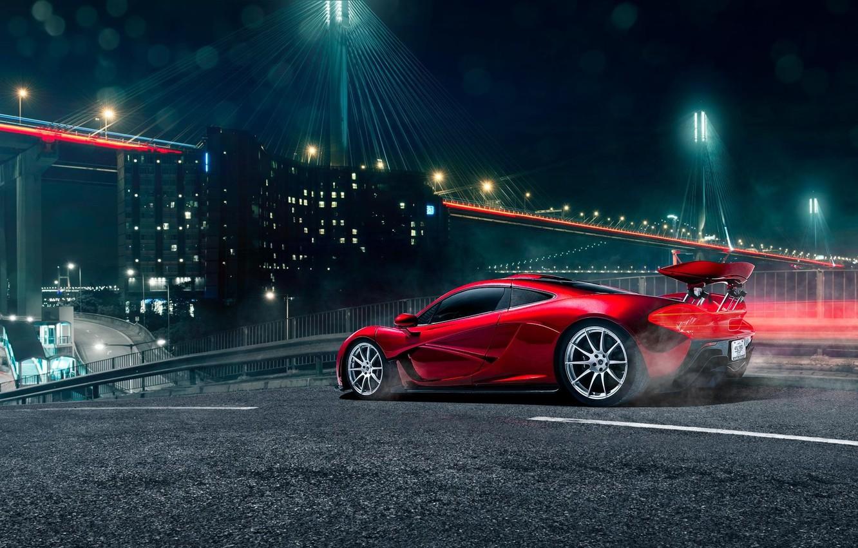 Photo wallpaper McLaren, Light, Red, Bridge, Supercar, Spoiler, Rear