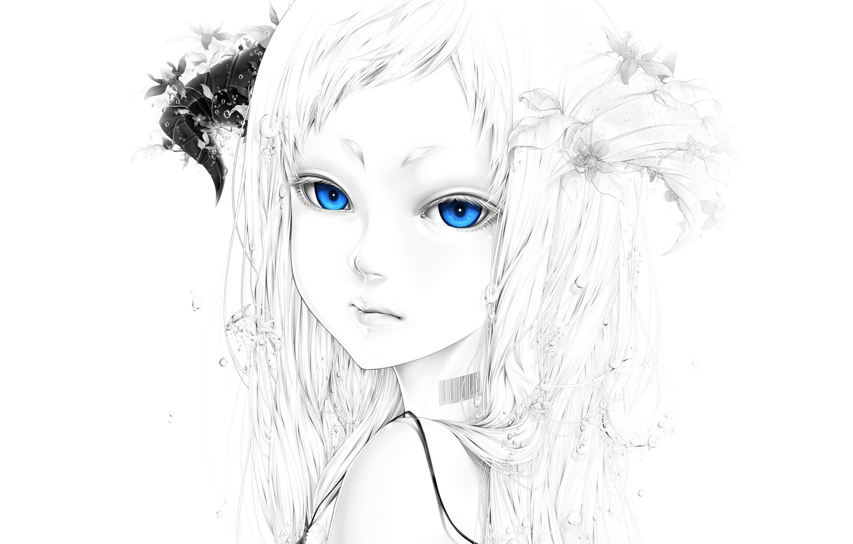 Photo wallpaper girl, flowers, bubbles, barcode, art, horns, bouno satoshi