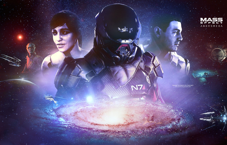 Photo wallpaper galaxy, Mass effect, asari, andromeda, Ryder, tempest