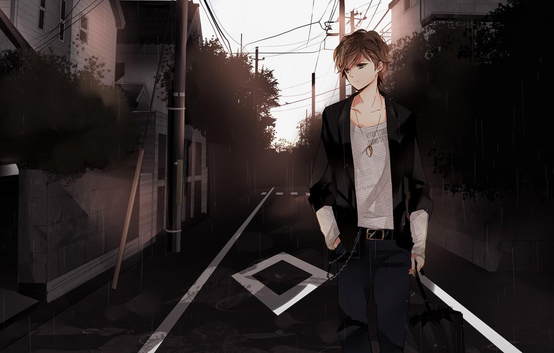 Photo wallpaper the city, mood, street, anime, guy