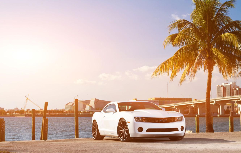 Photo wallpaper white, the sky, bridge, the city, Palma, coast, Chevrolet, Camaro, white, Chevrolet, muscle car, skyscrapers, …