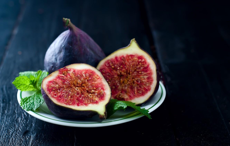 Photo wallpaper leaves, Board, plate, fruit, mint, figs