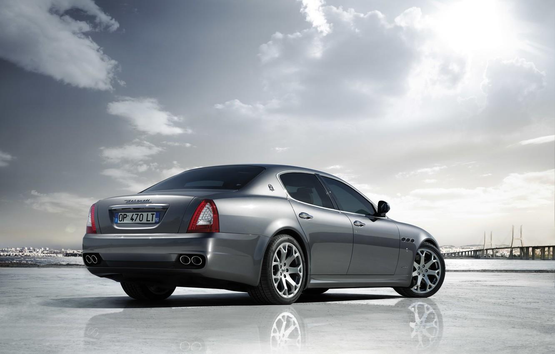 Photo wallpaper Maserati, Quattroporte, The sun, The sky, Reflection, Machine, Silver