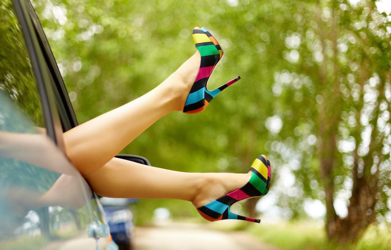 Photo wallpaper machine, leaves, girl, trees, background, widescreen, Wallpaper, feet, mood, foliage, shoes, wallpaper, heel, legs, widescreen, …