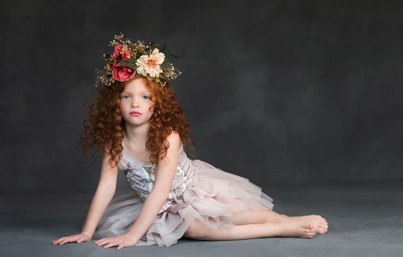 Photo wallpaper dress, girl, curls, wreath, Studio, child models