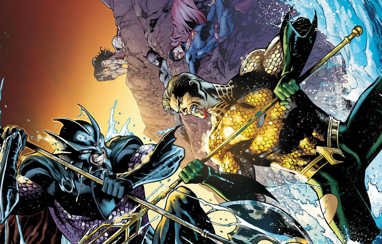 Photo wallpaper blood, the battle, Wonder Woman, Batman, Superman, Aquaman, DC comics, Justice League