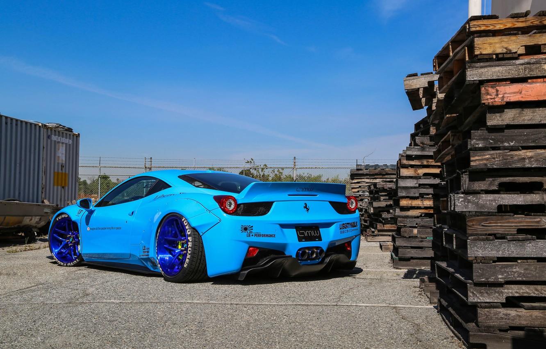 Photo wallpaper Ferrari, 458, Blue, Italia, Edition, Rear, Liberty, Walk