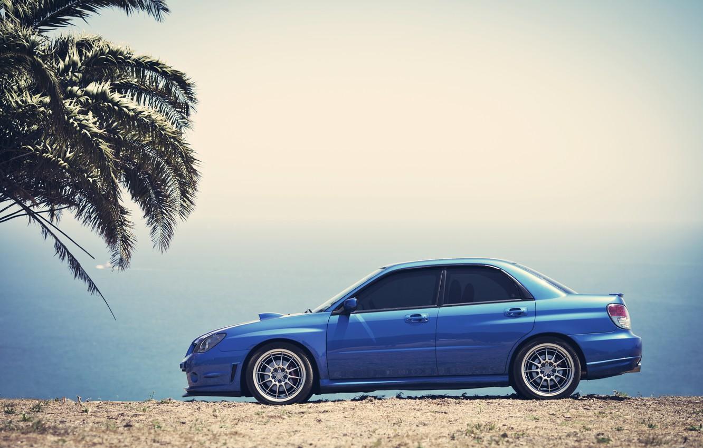 Photo wallpaper the sky, Palma, Subaru, Impreza, blue, blue, Subaru, Impreza