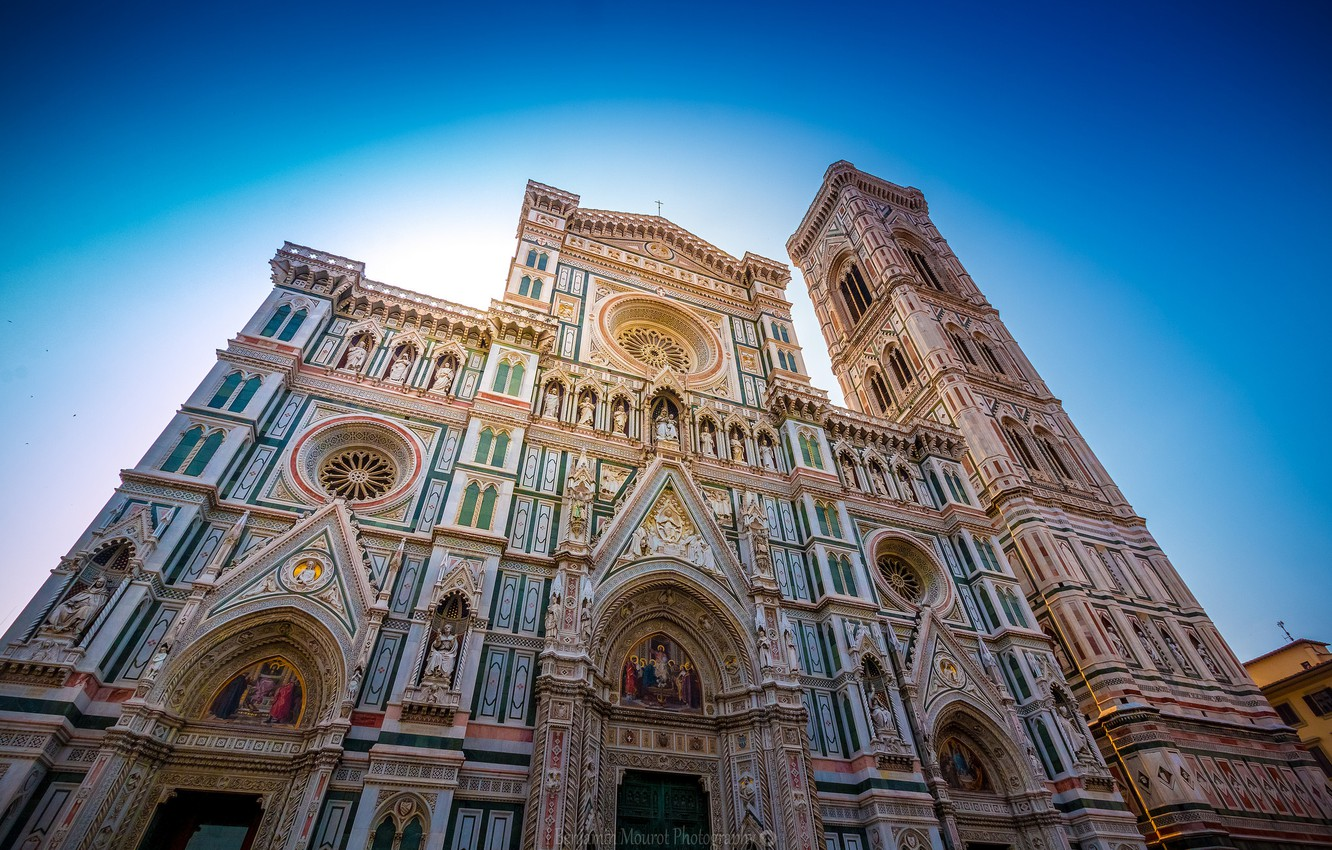 Photo wallpaper the sky, Italy, Florence, facade, Duomo, Giotto's bell tower, the Cathedral of Santa Maria del …