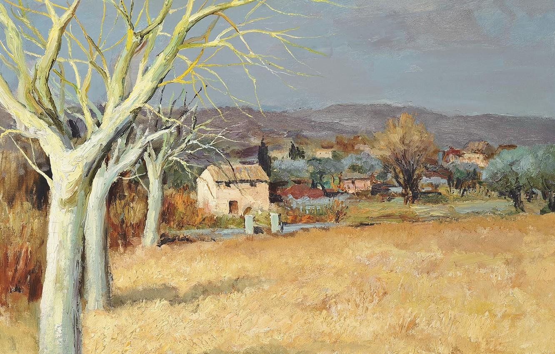 Photo wallpaper field, trees, landscape, mountains, home, picture, Marseille Dif, Tourette-sur-Loup