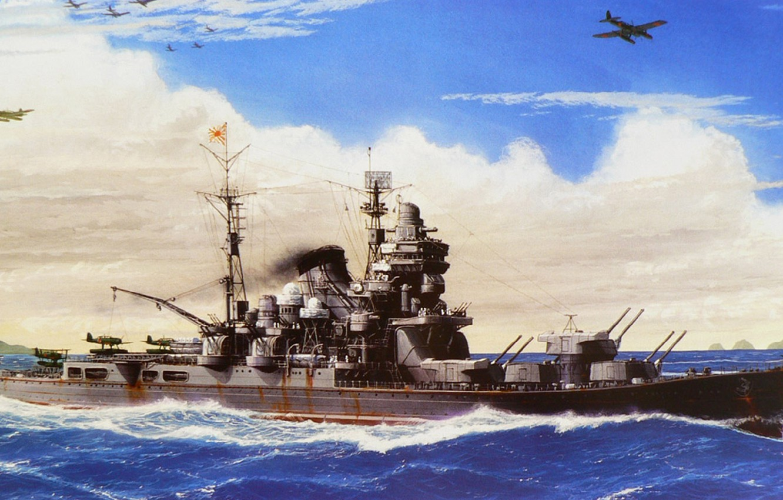 Photo wallpaper ship, art, Navy, military, cruiser, Japanese, cruiser, WW2, IJN, Tone