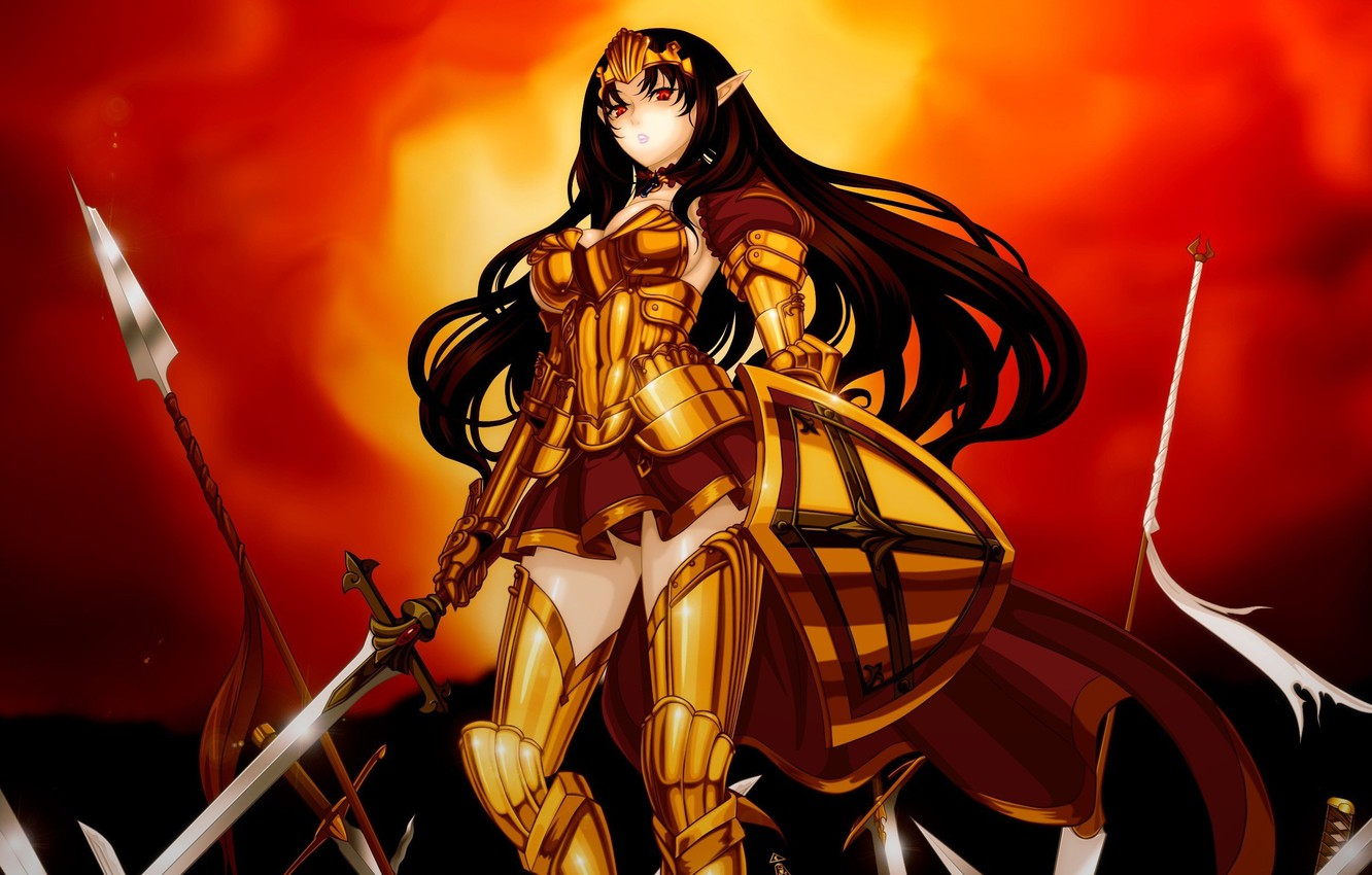 Photo wallpaper kawaii, battlefield, red, sword, game, fighter, armor, long hair, anime, crown, red eyes, pretty, fight, …