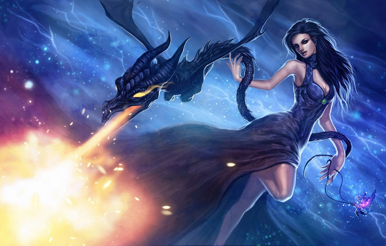 Girl With Ragon Fantasy Art