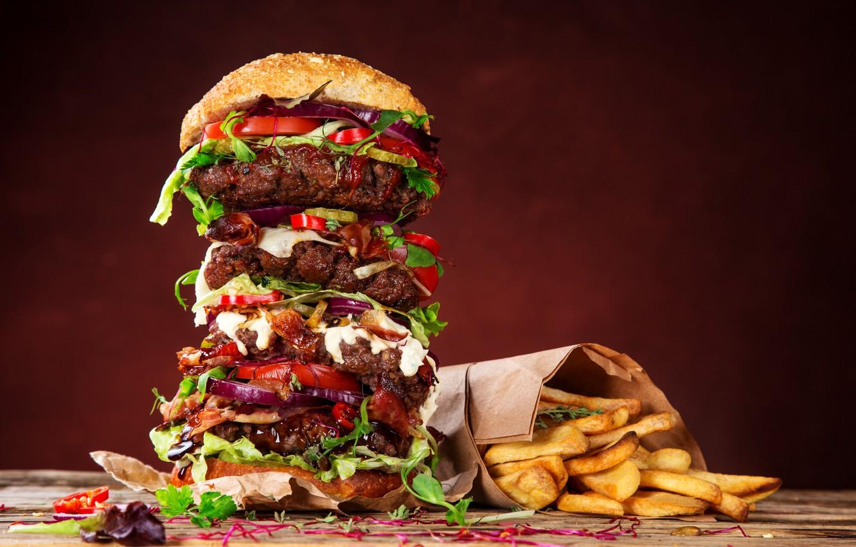 Photo wallpaper Hamburger, Food, Buns, Fast food, French Fries