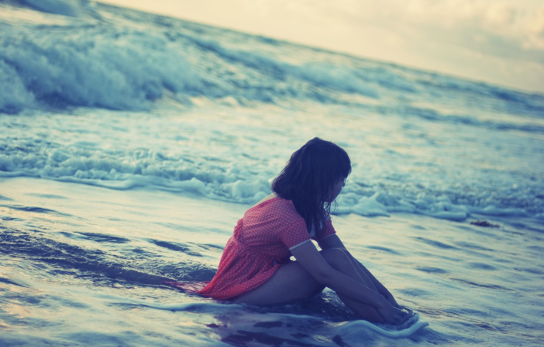 Photo wallpaper sea, water, girl, river, pink, mood, wave, sitting, HD wallpapers, Wallpaper for desktop