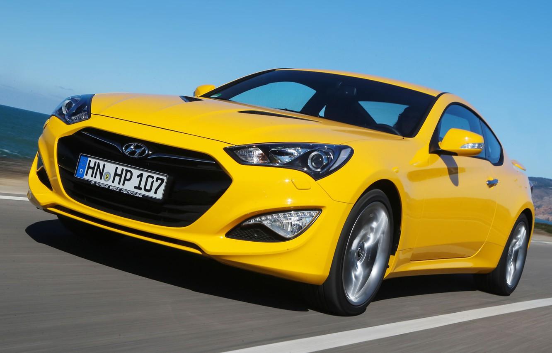 Photo wallpaper yellow, Hyundai, Coupe, the front, Hyundai, Genesis