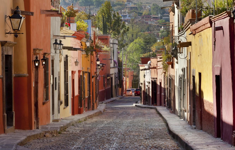 Photo wallpaper road, trees, machine, street, wire, home, the sidewalk, lanterns