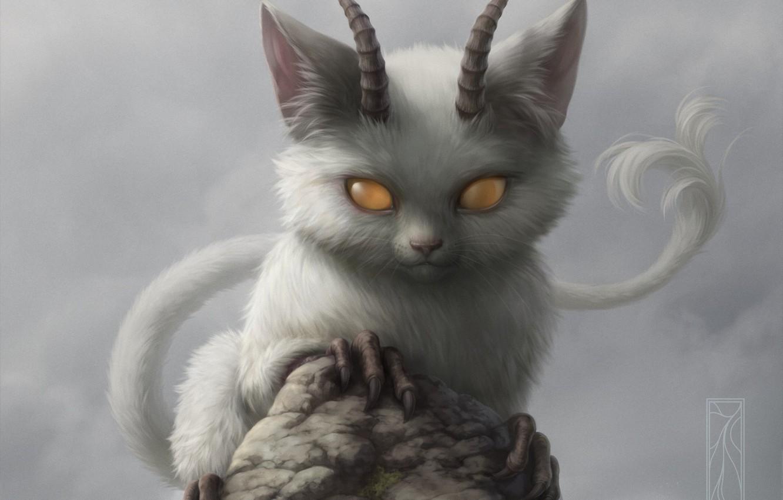 Photo wallpaper cat, rock, stone, the demon, horns, animal