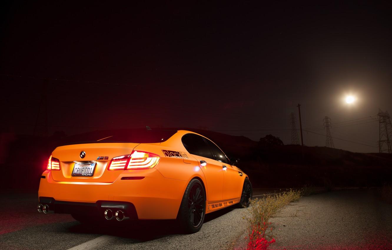Photo wallpaper light, orange, lights, BMW, BMW, Orange, back, f10