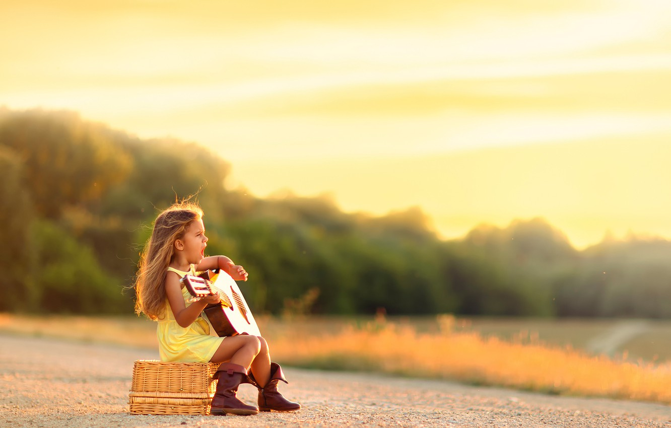 Photo wallpaper guitar, girl, song, Country Blues