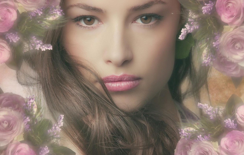 Photo wallpaper girl, face, hair, portrait, pink, flowers, hair, roses, makeup