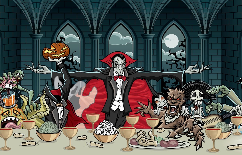 Photo wallpaper eyes, clouds, trees, death, the moon, blood, Windows, glasses, monsters, skeleton, plates, pumpkin, vampire, braid, …