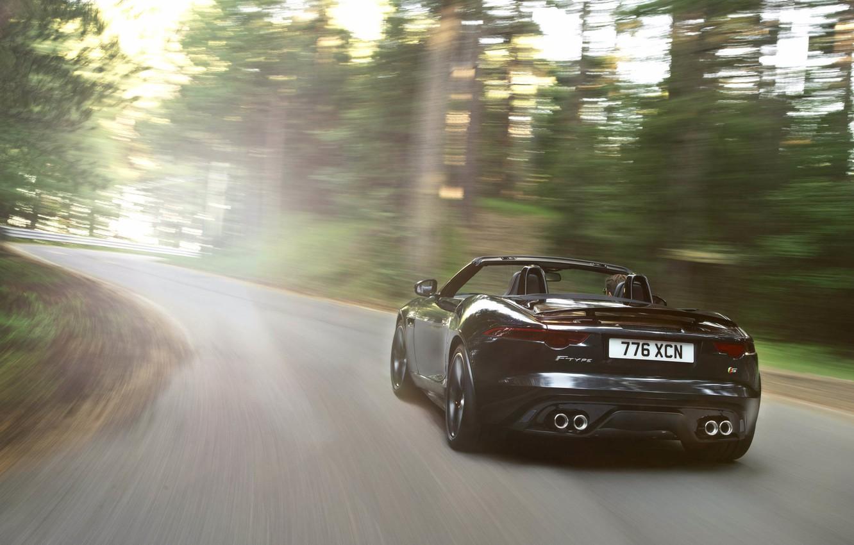Photo wallpaper light, movement, black, Jaguar, convertible, rear view, jaguar, f-type