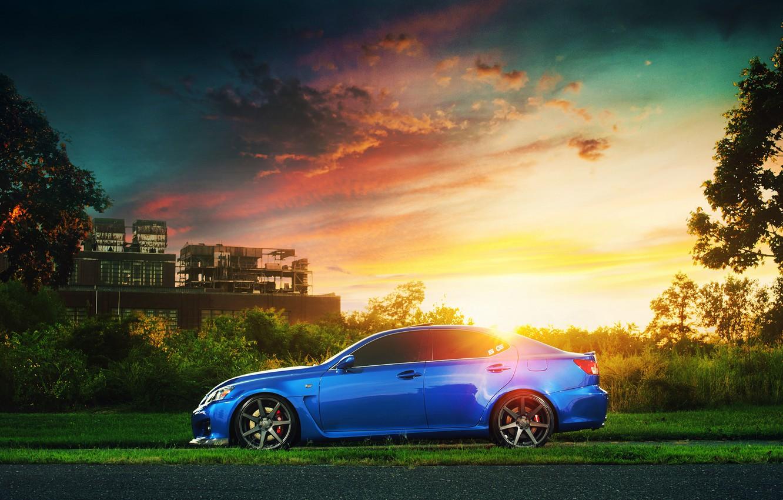 Photo wallpaper plant, Lexus, Blik, blue, sun, profile, IS F