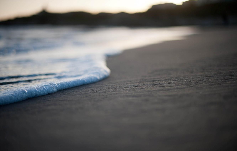 Photo wallpaper sand, sea, beach, foam, macro, photo, Wallpaper, shore, wallpapers