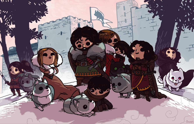 Photo wallpaper Game of thrones, Jon Snow, Game of thrones, The direwolf