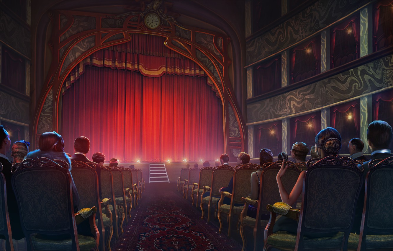 Wallpaper Scene Chairs Curtain The Audience Theatre Images For Desktop Section Rendering Download
