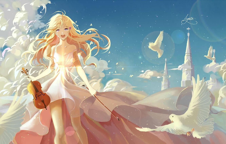 Photo wallpaper the sky, girl, clouds, birds, castle, violin, anime, feathers, art, shigatsu wa kimi no uso, …