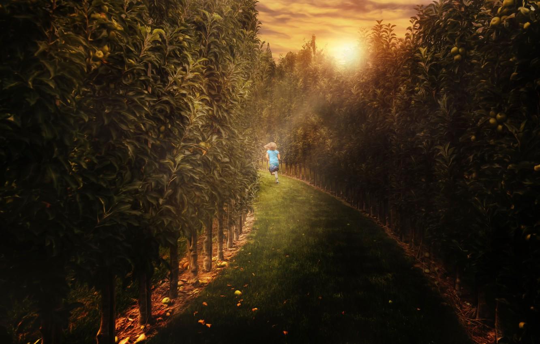 Photo wallpaper treatment, running, girl, alley, Maze runner